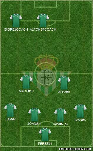 Real Betis B., S.A.D. 4-2-4 football formation