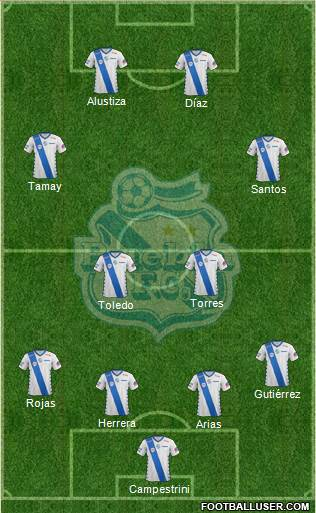 Club Puebla de la Franja 4-4-2 football formation