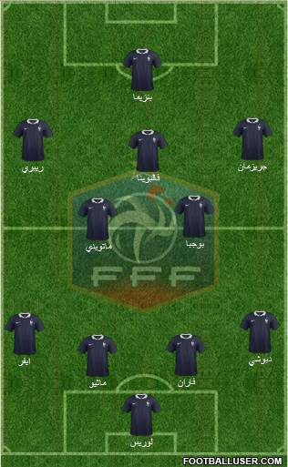 France 3-5-1-1 football formation