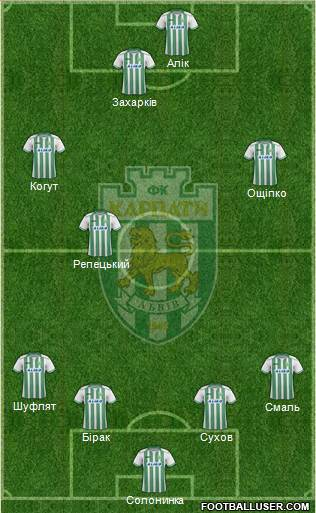 Karpaty Lviv 4-4-1-1 football formation
