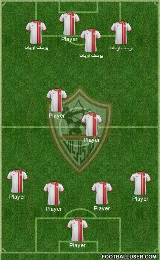 Zamalek Sporting Club 4-3-1-2 football formation