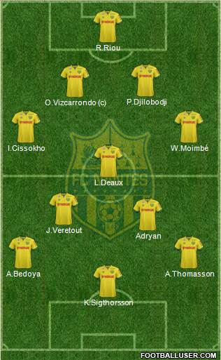 FC Nantes 4-1-4-1 football formation