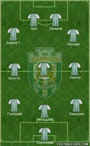 Karpaty Lviv 3-5-2 football formation