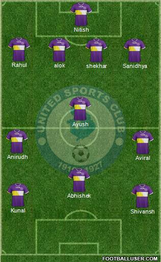 United Sports Club 4-4-2 football formation