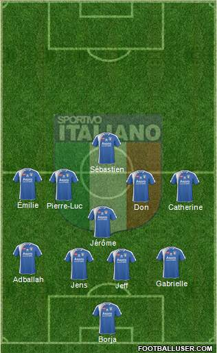 Sportivo Italiano 4-1-4-1 football formation