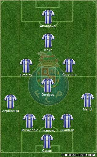 Futebol Clube do Porto - SAD 5-4-1 football formation