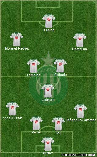 A.S. Saint-Etienne 4-1-2-3 football formation