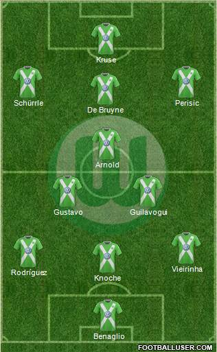 VfL Wolfsburg 4-1-3-2 football formation