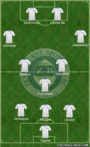 Zeytinburnuspor 4-1-3-2 football formation