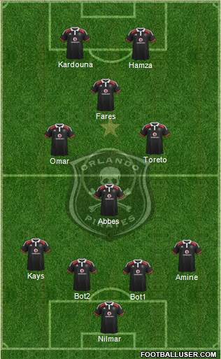 Orlando Pirates 4-4-2 football formation