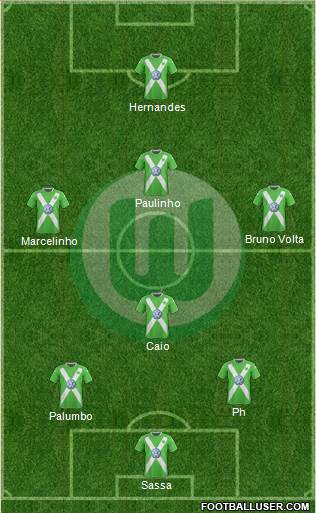 VfL Wolfsburg 3-5-2 football formation