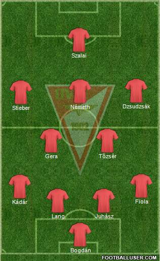 Debreceni VSC 4-2-3-1 football formation