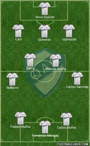 Quilmes 3-4-3 football formation