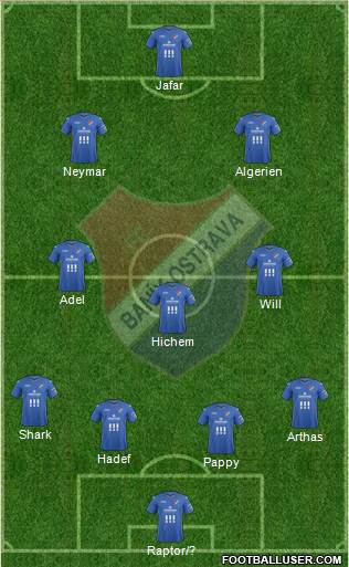 Banik Ostrava 4-3-2-1 football formation