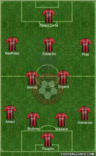 OGC Nice Côte d'Azur 4-2-3-1 football formation