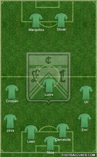 Ferro Carril Oeste 5-4-1 football formation