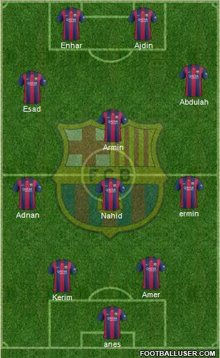 F.C. Barcelona B 3-4-2-1 football formation