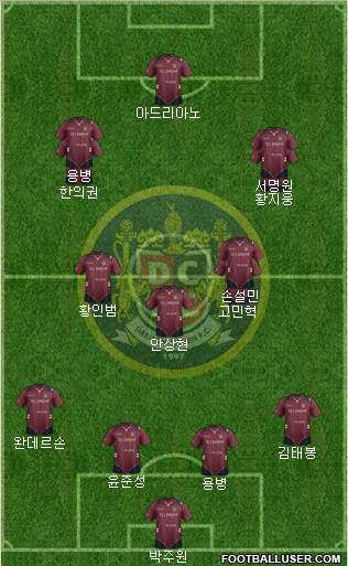 Daejeon Citizen 4-3-3 football formation