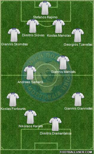 Greece 4-4-1-1 football formation