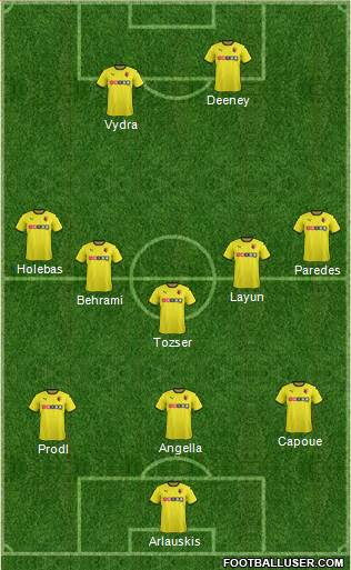 Watford 3-5-1-1 football formation