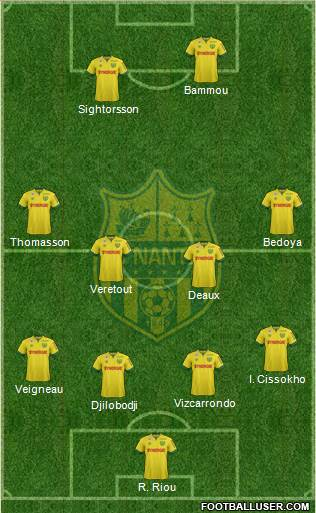 FC Nantes 3-5-1-1 football formation