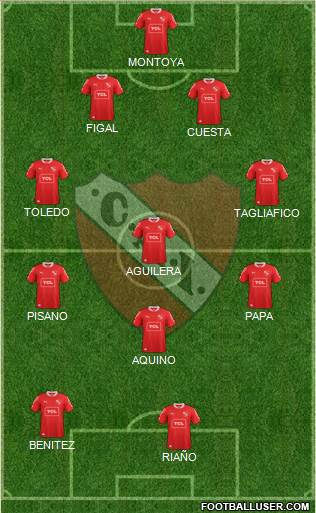 Independiente 4-3-1-2 football formation