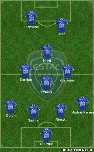 Esperance Sportive Troyes Aube Champagne 4-1-2-3 football formation
