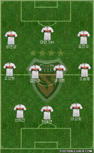 Pohang Steelers 3-4-3 football formation