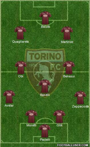 Torino 4-3-2-1 football formation