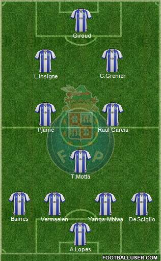 Futebol Clube do Porto - SAD 4-3-2-1 football formation