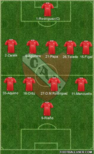 Independiente 5-4-1 football formation