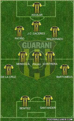 C Guaraní 3-5-2 football formation