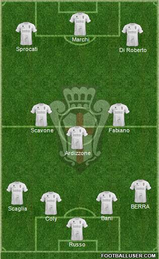 Pro Vercelli 4-3-3 football formation