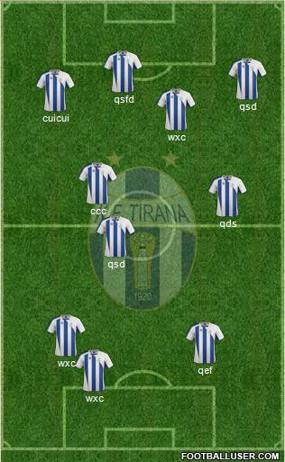KF Tirana 3-5-1-1 football formation
