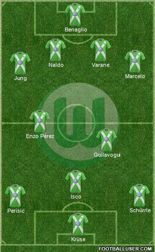 VfL Wolfsburg 4-1-2-3 football formation