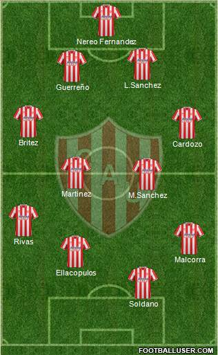 Unión de Santa Fe 4-4-1-1 football formation