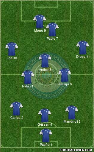 San Marino 3-5-1-1 football formation