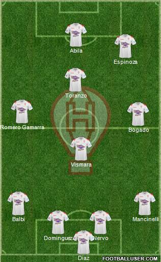 Huracán 4-3-1-2 football formation