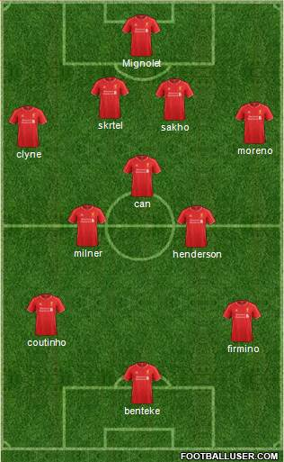 Liverpool 4-1-4-1 football formation
