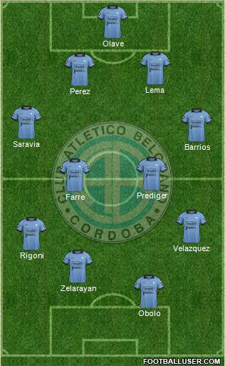 Belgrano de Córdoba 4-4-1-1 football formation