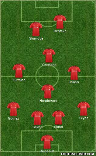 Liverpool 4-1-3-2 football formation