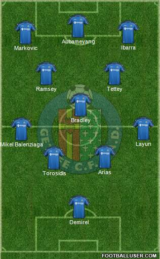 Getafe C.F., S.A.D. 4-1-4-1 football formation