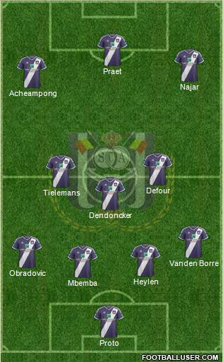RSC Anderlecht 3-5-1-1 football formation