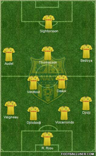 FC Nantes 3-4-3 football formation