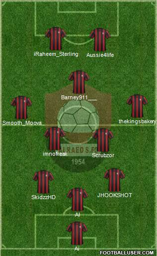 Al-Ra'eed 3-5-2 football formation