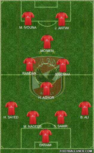 Al-Ahly Sporting Club 4-1-3-2 football formation