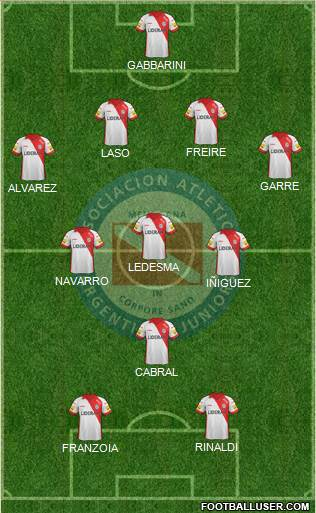 Argentinos Juniors 4-3-1-2 football formation