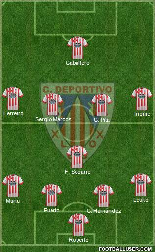 C.D. Lugo 4-1-4-1 football formation