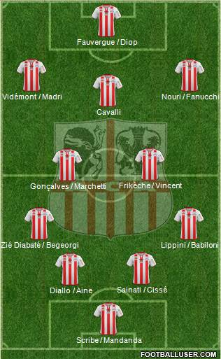 Athletic Club Ajaccien Football 4-3-3 football formation