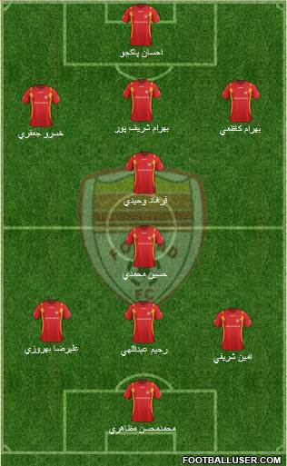 Foulad Khuzestan 4-3-2-1 football formation